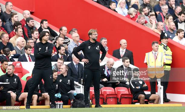 Liverpool manager Jurgen Klopp looks frustrated in the dugout during the Premier League match between Liverpool and Manchester United at Anfield on...