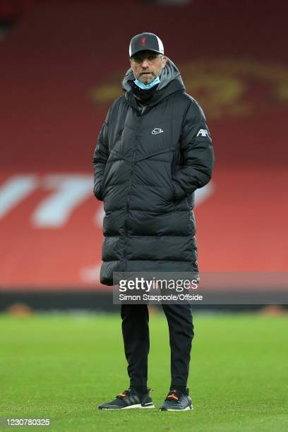 Liverpool manager Jurgen Klopp looks on before The Emirates FA Cup Fourth Round match between Manchester United and Liverpool at Old Trafford on...