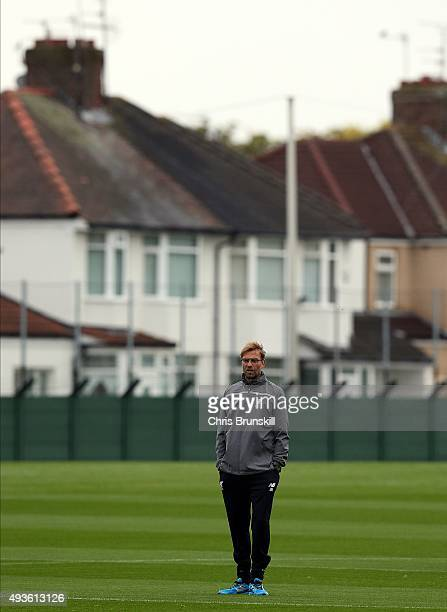 Liverpool manager Jurgen Klopp looks on during a Liverpool training session at Melwood Training Ground on October 21 2015 in Liverpool England