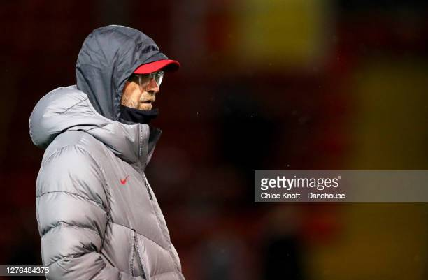Liverpool Manager Jurgen Klopp looks on during the Caraboa Cup Third Round match between Lincoln City FC and Liverpool FC at LNER Stadium on...