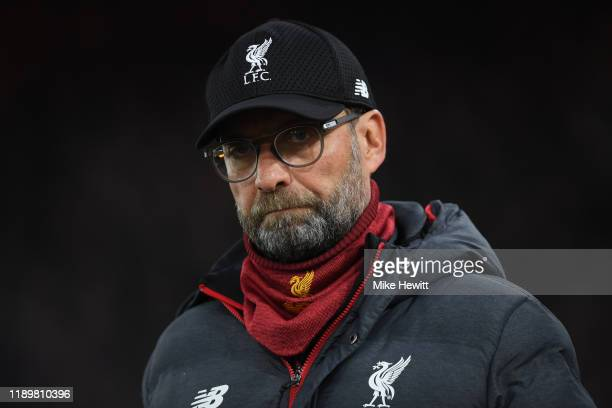Liverpool manager Jurgen Klopp looks on during the Premier League match between Crystal Palace and Liverpool FC at Selhurst Park on November 23 2019...
