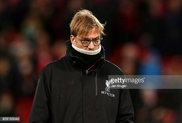 Liverpool manager Jurgen Klopp looks on during the Premier League match between Liverpool and West Ham United at Anfield on December 11 2016 in...