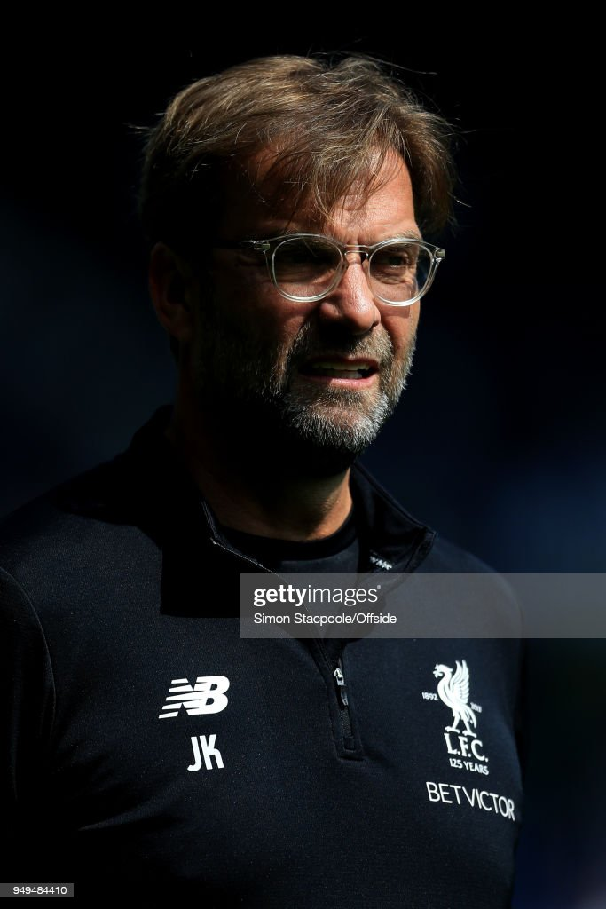Liverpool manager Jurgen Klopp looks on during the Premier League match between West Bromwich Albion and Liverpool at The Hawthorns on April 21, 2018 in West Bromwich, England.