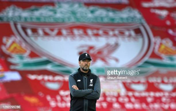 Liverpool manager Jurgen Klopp looks on prior to the Premier League match between Liverpool FC and Crystal Palace at Anfield on June 24, 2020 in...