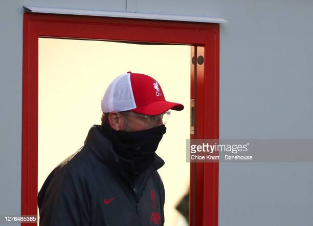 Liverpool Manager Jurgen Klopp looks out of the dressing room ahead of the Caraboa Cup Third Round match between Lincoln City FC and Liverpool FC at...