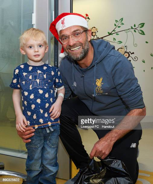 Liverpool manager Jurgen Klopp making the annual visit to Alder Hey Children's Hospital on December 11 2017 in Liverpool England