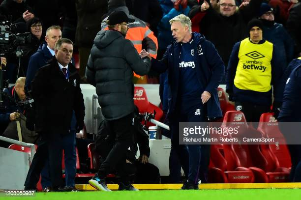 Liverpool manager Jurgen Klopp shakes hands with West Ham United manager David Moyes during the Premier League match between Liverpool FC and West...