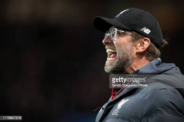 Liverpool manager Jurgen Klopp shouts instructions during the Premier League match between Aston Villa and Liverpool FC at Villa Park on November 2...