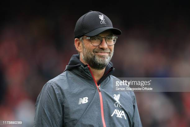Liverpool manager Jurgen Klopp smiles before the Premier League match between Liverpool FC and Leicester City at Anfield on October 5 2019 in...
