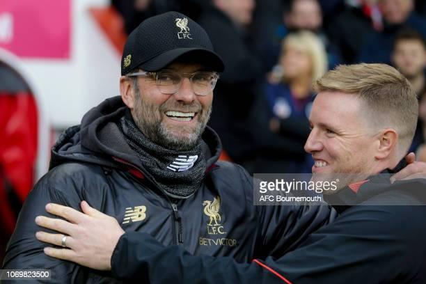 Liverpool manager Jurgen Klopp with Bournemouth manager Eddie Howe before the Premier League match between AFC Bournemouth and Liverpool FC at...