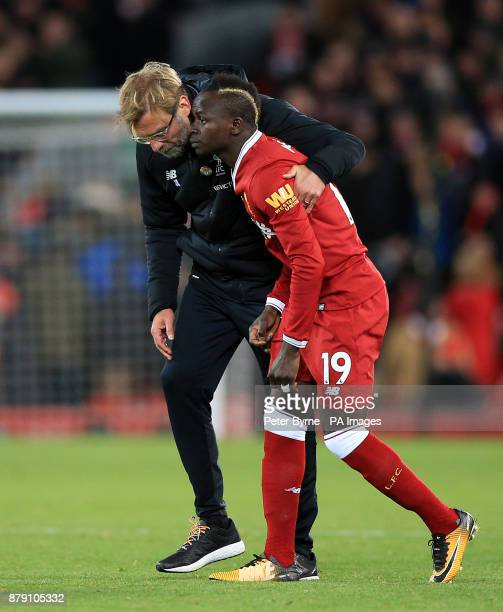 Liverpool manager Jurgen Klopp with Sadio Mane after the Premier League match at Anfield Liverpool