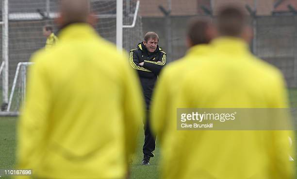 Liverpool manager Kenny Dalglish during a training session ahead of their UEFA Europa League Round of 16 second leg match against Braga at Melwood...