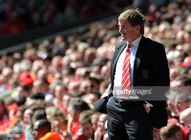 Liverpool manager Kenny Dalglish looks on during the Barclays Premier League match between Liverpool and Newcastle United at Anfield on May 1 2011 in...