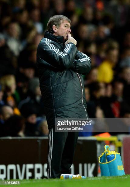 Liverpool Manager Kenny Dalglish looks on during the Barclays Premier League match between Blackburn Rovers and Liverpool at Ewood park on April 10,...