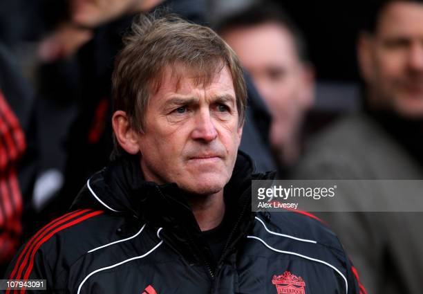 Liverpool Manager Kenny Dalglish looks on prior to the FA Cup sponsored by EON 3rd round match between Manchester United and Liverpool at Old...