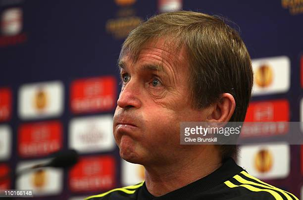 Liverpool manager Kenny Dalglish shows his emotions during a press conference ahead of their UEFA Europa League Round of 16 second leg match against...