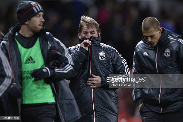 Liverpool manager Kenny Dalglish shows his frustration at half time during the Carling Cup Fourth Round match between Stoke City and Liverpool at...
