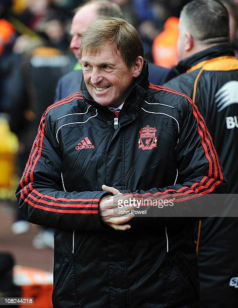 Liverpool manager Kenny Dalglish smiles during the Barclays Premier League match between Wolverhampton Wanderers and Liverpool at Molineux on January...