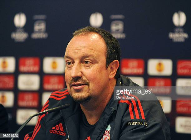Liverpool manager Rafa Benitez answers a question during the team press conference at the Vicente Calderon stadium on April 21, 2010 in Madrid,...