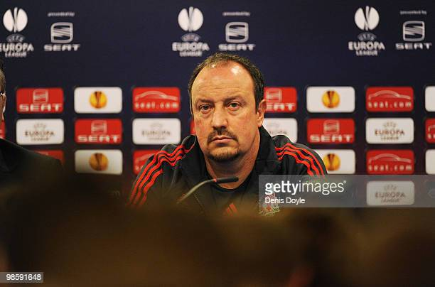 Liverpool manager Rafa Benitez answers a question during the team press conference at the Vicente Calderon stadium on April 21 2010 in Madrid Spain...