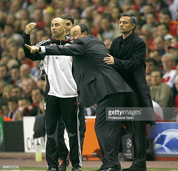 Liverpool manager Rafa Benitez with Chelsea's Jose Mourinho during the UEFA Champions League semi final second leg between Liverpool and Chelsea at...
