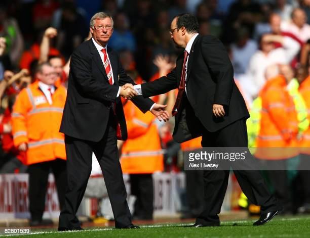 Liverpool Manager Rafael Benitez and Manchester United Manager Sir Alex Ferguson shake hands after the Barclays Premier League match between...