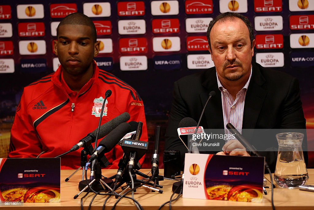 Liverpool manager Rafael Benitez and Ryan Babel of Liverpool during the press conference prior to the UEFA Europa League semi final second leg match between Liverpool and Athletico Madrid at Anfield on April 28, 2010 in Liverpool, England.