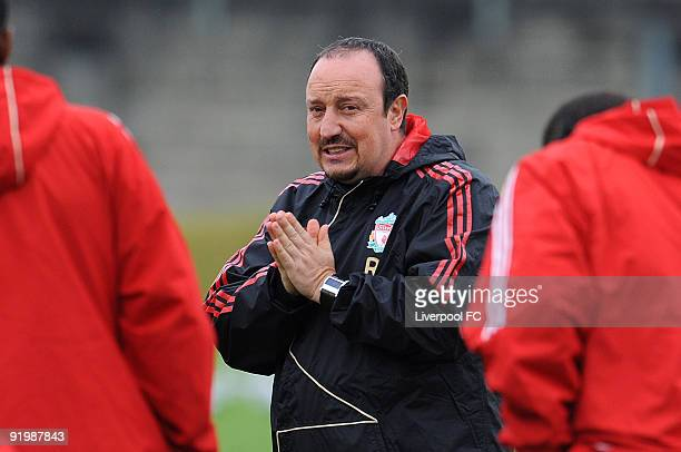 Liverpool Manager Rafael Benitez attends a training session, prior to the UEFA Champions League Group E match between Liverpool and Lyon, at Melwood...