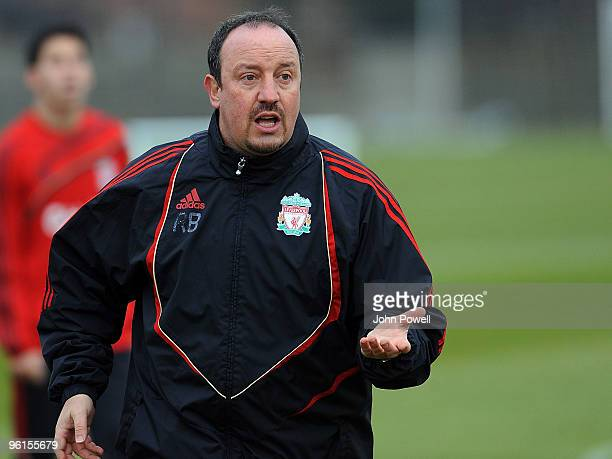Liverpool Manager Rafael Benitez conducts a Liverpool team training session at Melwood training ground on January 25 2010 in Liverpool England