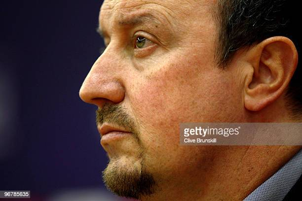 Liverpool manager Rafael Benitez during a press conference prior to the UEFA Europa League round of 32 firstleg match between Liverpool and Unirea...