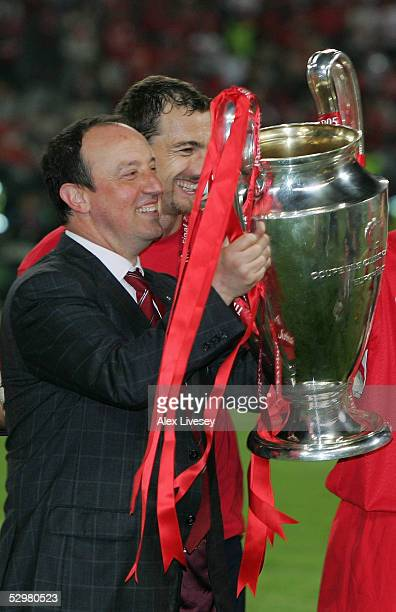 Liverpool manager Rafael Benitez of Spain lifts the European Cup after Liverpool won the European Champions League final between Liverpool and AC...