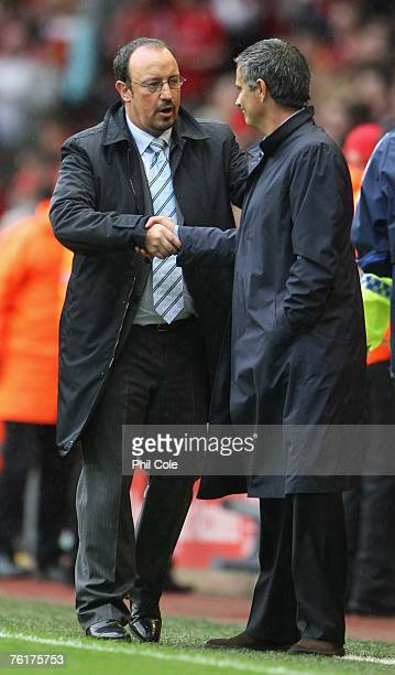 Liverpool Manager Rafael Benitez shakes hands with Chelsea Manager Jose Mourinho at the end of the Barclays Premier League match between Liverpool...