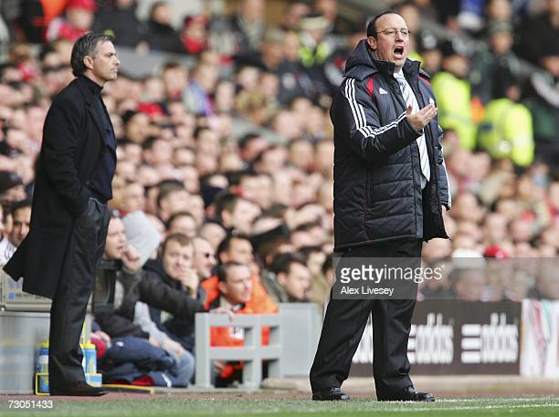 Liverpool Manager Rafael Benitez shouts instructions to his players as Chelsea Manager Jose Mourinho looks on during the Barclays Premiership match...