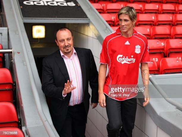 Liverpool manager Rafael Benitez unveils new signing Fernando Torres at a press conference held at Anfield on July 4 2007 in Liverpool England