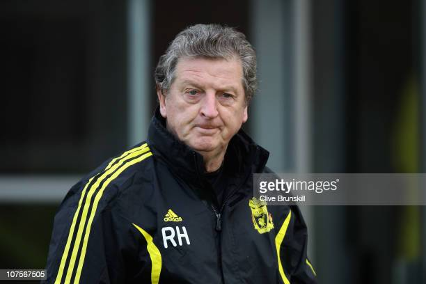 Liverpool manager Roy Hodgson during a training session ahead of their UEFA Europa League Group K match against Utrecht at Melwood Training Ground on...