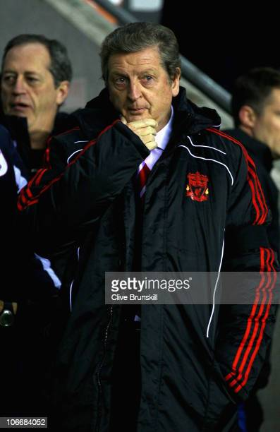 Liverpool manager Roy Hodgson during the Barclays Premier League match between Wigan Athletic and Liverpool at DW Stadium on November 10 2010 in...