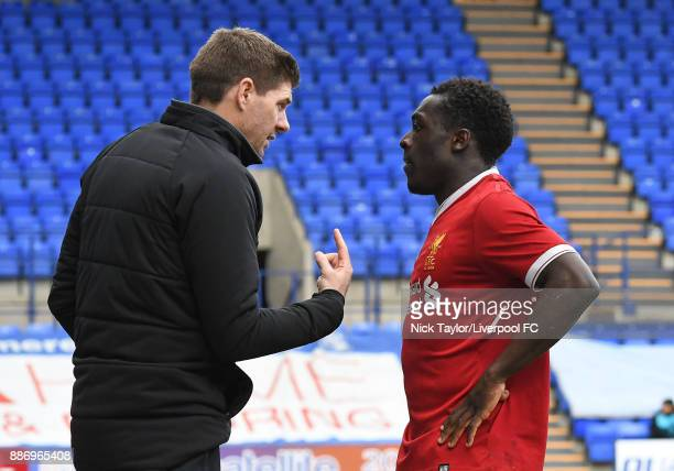 Liverpool manager Steven Gerrard speaks to Bobby Adekanye Liverpool during the UEFA Youth League group E match between Liverpool FC and Spartak...
