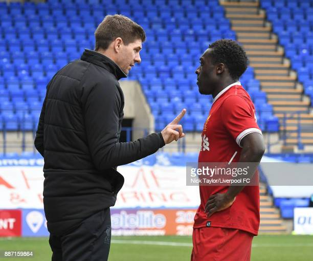 Liverpool manager Steven Gerrard speaks to Bobby Adekanye Liverpool during the UEFA Champions League group E match between Liverpool FC and Spartak...