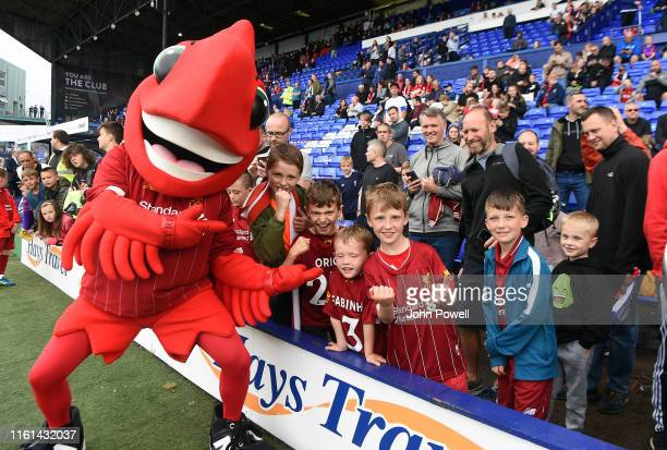 Liverpool mascot Mighty Red greets the fans prior to kickoff during the PreSeason Friendly match between Tranmere Rovers and Liverpool at Prenton...