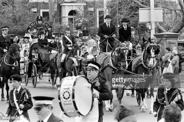 Liverpool May Horse Parade 10th May 1986 Musical Ride the Silver Band of the St John's Ambulance Brigade leads the colourful procession towards the...