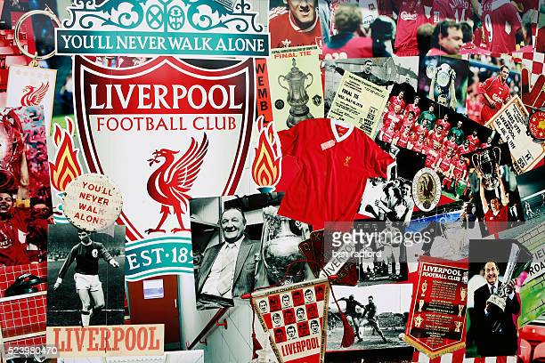 Liverpool memorabilia and photos on display in the window of the club merchantise shop before the UEFA Champions League SemiFinal 1st leg match...
