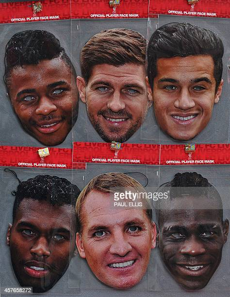 Liverpool merchandise showing the faces of Liverpool players Raheem Sterling Steven Gerrard Philippe Coutinho Daniel Sturridge Mario Balotelli and...