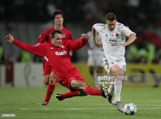 Liverpool midfielder Dietmar Hamann of Germany fights for the ball with AC Milan forward Andriy Shevchenko of Ukraine during the European Champions...