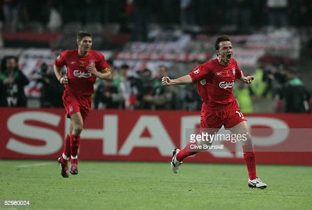 Liverpool midfielder Vladimir Smicer of Czech Republic celebrates his goal with Liverpool captain Steven Gerrard during the European Champions League...