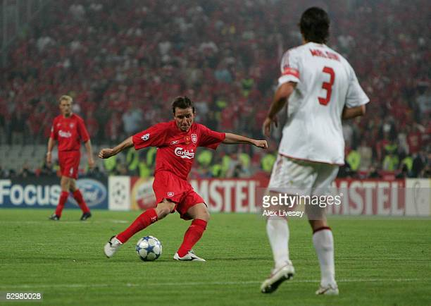 Liverpool midfielder Vladimir Smicer of Czech Republic scores during the European Champions League final between Liverpool and AC Milan on May 25...