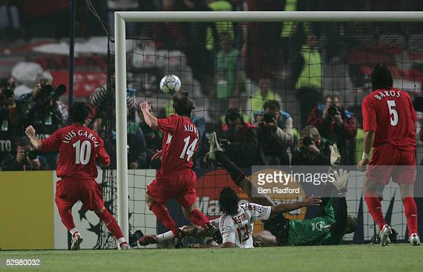 Liverpool midfielder Xabi Alonso of Spain scores the third goal during the European Champions League final between Liverpool and AC Milan on May 25,...