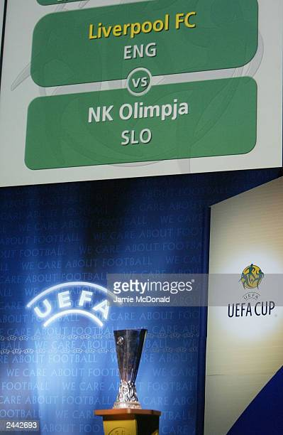 Liverpool of England are drawn against NK Olimpija Ljubljana of Slovakia during the UEFA European Cup Draw at the Grimaldi Forum on August 29 2003 in...