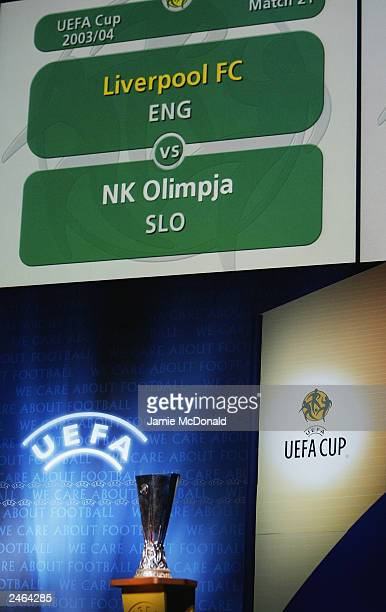 Liverpool of England are drawn against NK Olimpija Ljubljana of Slovakia during the UEFA European cup draw on August 29 2003 at the Grimaldi Forum in...
