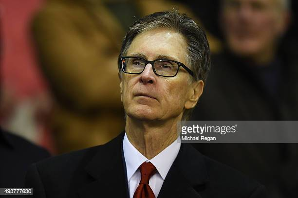 Liverpool owner John W. Henry looks on during the UEFA Europa League Group B match between Liverpool FC and Rubin Kazan at Anfield on October 22,...