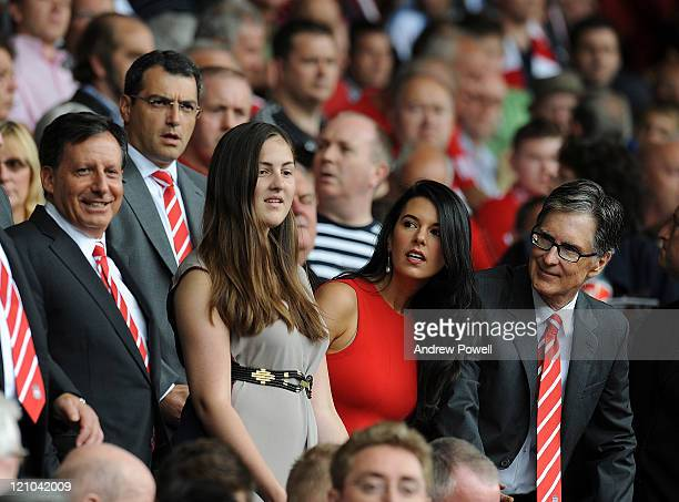 Liverpool owners Tom Werner and John W Henry look on during the Barclays Premier League match between Liverpool and Sunderland at Anfield on August...
